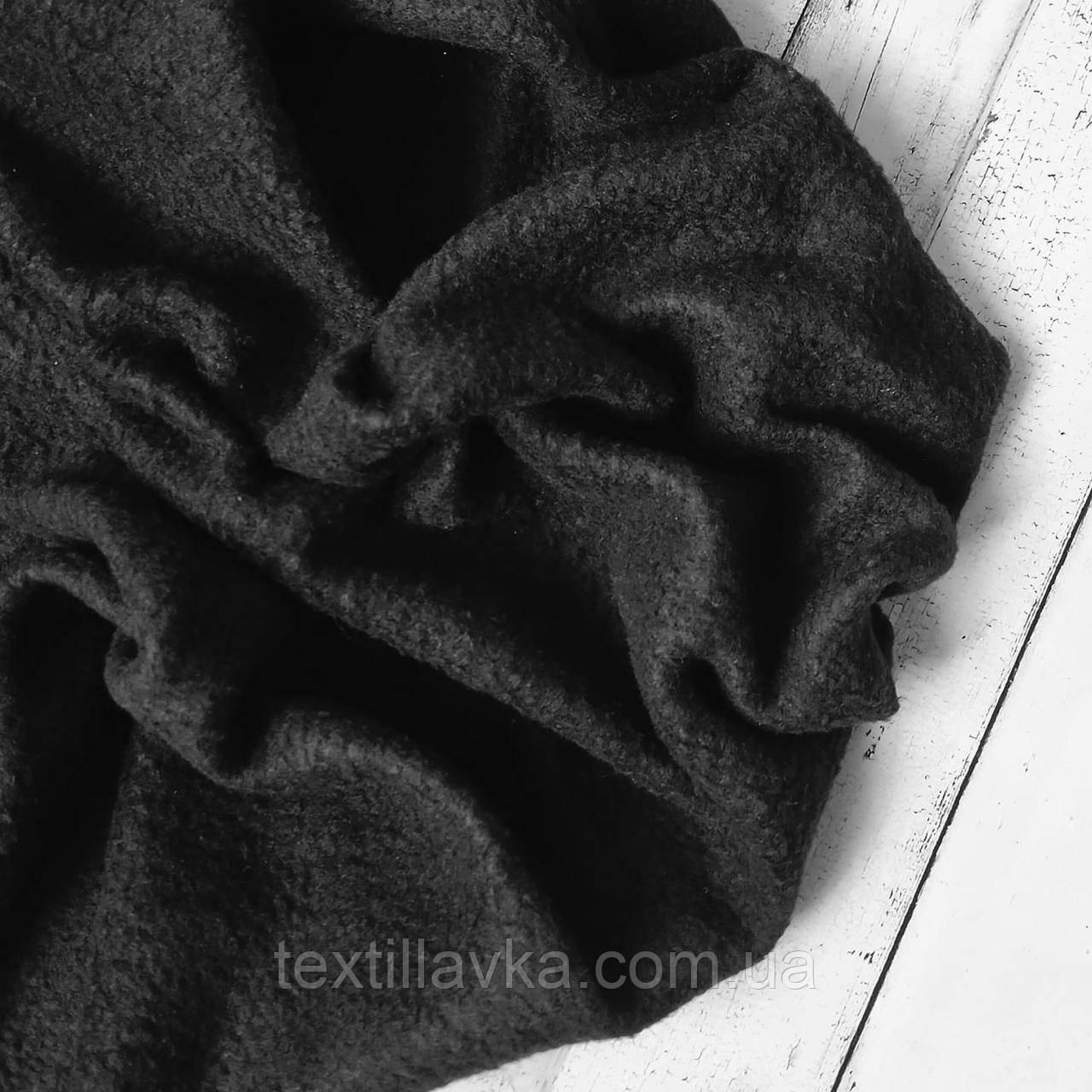 Ткань флис черный, размер 50см/36см
