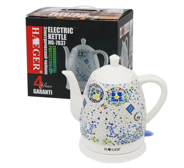 Чайник электрический керамический Haeger HG-7837 1.5 л 1350 Вт   Электрочайник с рисунком