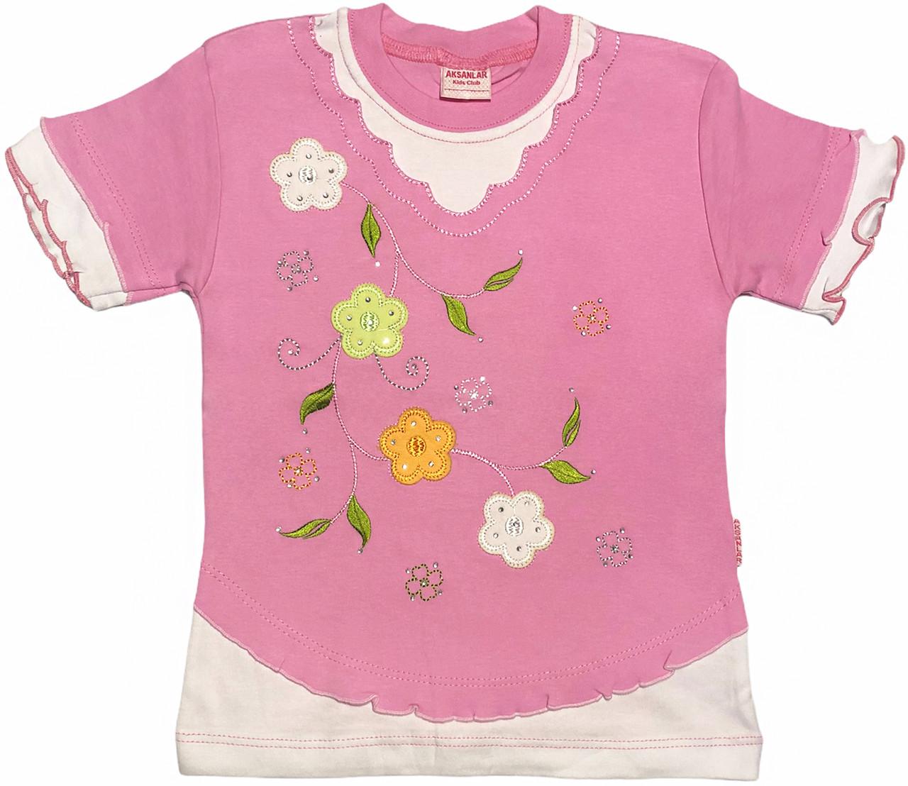 Дитяча футболка на дівчинку ріст 128 7-8 років для дітей красива стильна ошатна річна трикотажна рожева