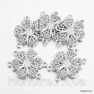 Коннектор Цветок, Сплав, 24х29х2мм, Цвет: Серебро (10 шт)