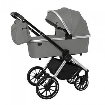 Универсальная коляска 3 в 1 Carello Optima CRL-6504 Mirror Grey Текстиль лен Сумка для мамы