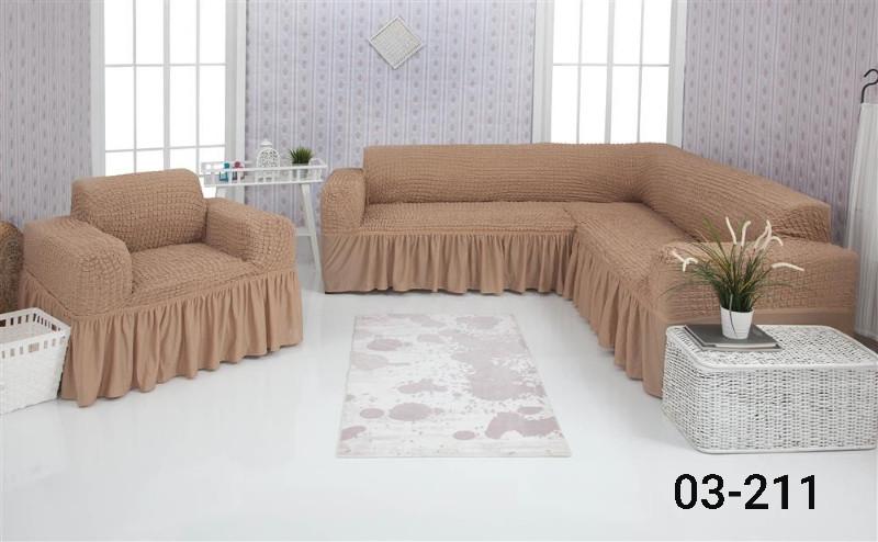Чохол на кутовий диван та крісло з оборкою, натяжна, жатка-креш, універсальний Concordia, Темний Беж