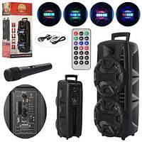 Колонка переносная с Bluetooth, световыми эффектами, пультом и микрофоном для караоке LT-2805