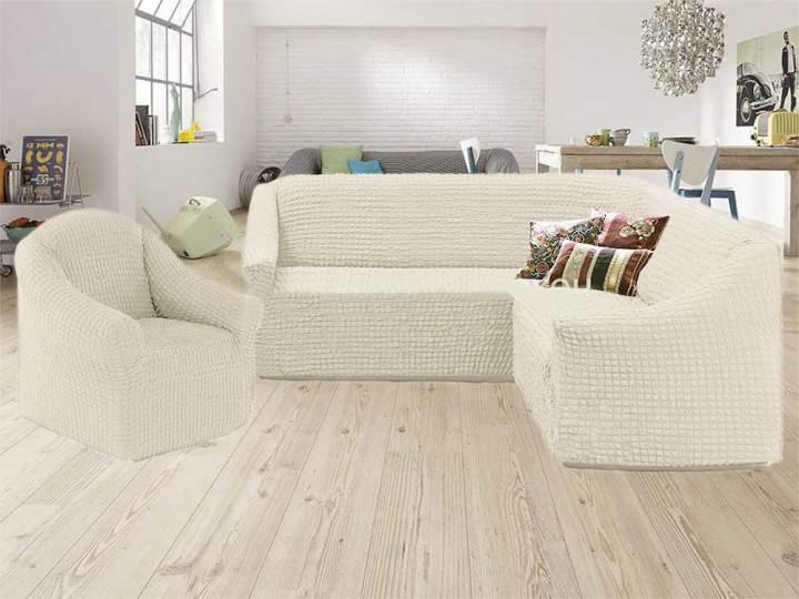 Чехол на угловой диван и кресло без оборки, натяжной, жатка-креш, универсальный Concordiа, Молочный
