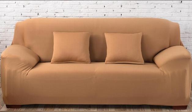 Универсальные чехлы накидки на 3-х местные диваны без юбки HomyTex Бифлекс Песочный