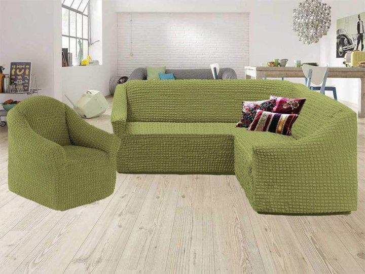Чохол на кутовий диван та крісло без оборки, натяжна, жатка-креш, універсальний Concordiа, Фісташковий