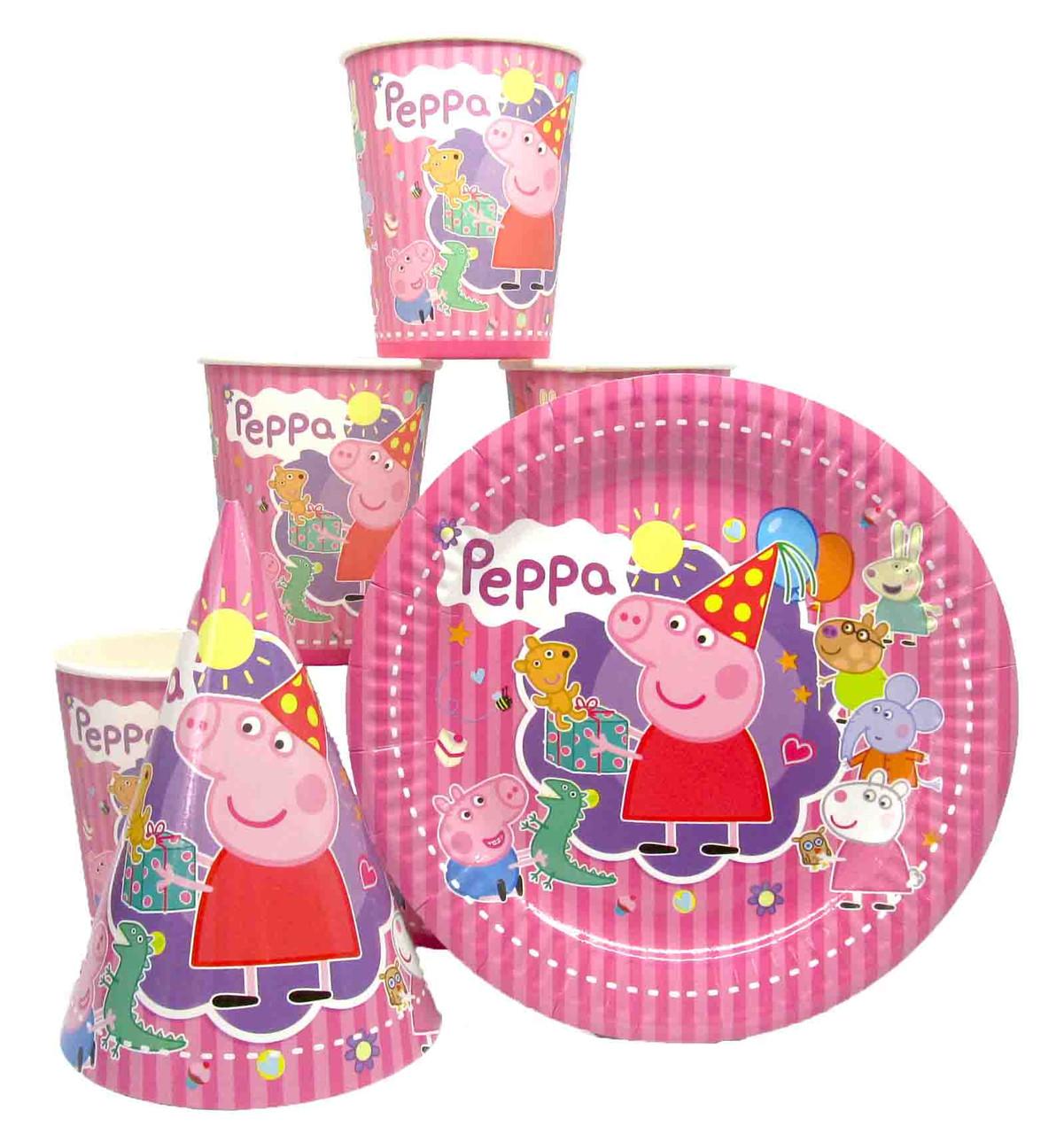 """Набор """"Свинка Пеппа"""" полосатая: Тарелки-10шт, Стаканы-10шт, Колпачки-10шт."""