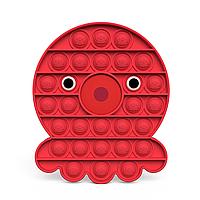 Антистресс - игрушка Pop It Красный Восьминог Поп Ит бесконечная пупырка