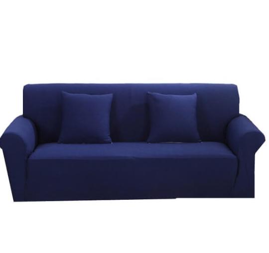 Еврочехол натяжной без юбки, стильные чехлы на диван без оборки HomyTex Бифлекс Синий Разные цвета