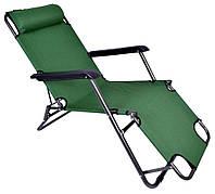 Шезлонг лежак садовый и пляжный Lazy 178 см зеленый