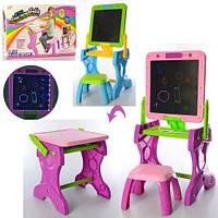 Детский мольберт для рисования столик со стульчиком 2в1 YM881-882 с подсветкой (2 цвета)