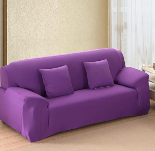 Чохол на диван натяжна на резинці, готові чохли на дивани без оборки HomyTex Біфлекс Фіолетовий Різні кольори