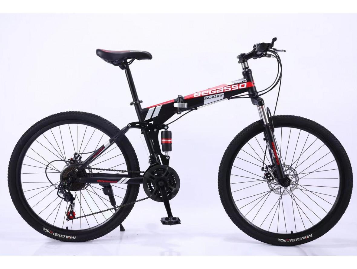 """Велосипед складной 26"""" BeGasso Soldier  рама 17"""" черно-красный цвет на рост 155-185 см"""
