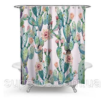 Тканинна шторка для ванної 180х200 см Pink flowering cactus