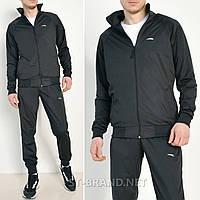 Черный мужской спортивный костюм на манжете / Трикотаж-лакост / размеры: 46-52