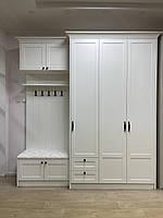 Передпокій біла з гачками і дзеркалом усередині шафи з мдф фасадами і карнизом, фото 1