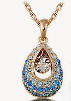 Восточный бриз - золотое колье с кристаллами Сваровски золото 750 проба