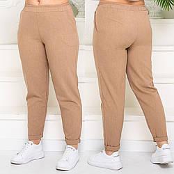 Жіночі лляні штани на гумці для повних