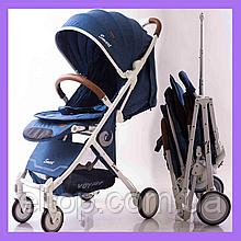 Детская прогулочная легкая коляска книжка Voyage Smart model D289  Синий Джинс