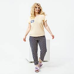 Літній жіночий трикотажний костюм двійка футболка+штани батал