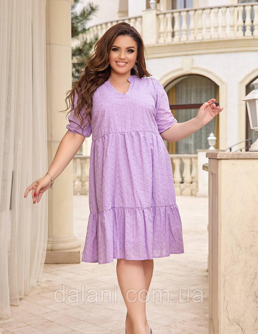 Женское сиреневое ярусное платье с перфорацией батал