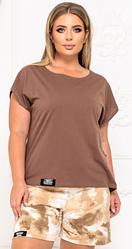 Літній жіночий трикотажний костюм двійка шорти+футболка батал