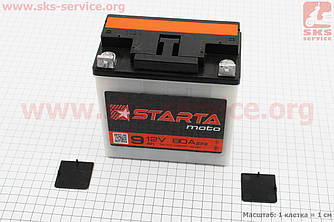 "Аккумулятор 9Аh MOTO 6МТС-9 кислотный (L140*W75*H140mm), 2021, плоская клема, МТ, ИЖ ""STARTA"" (341346)"