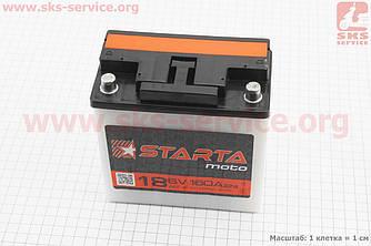 """Аккумулятор 6V 18Аh 3МТС-18 кислотный (L140*W75*H140mm), 2021, круглая клема, МТ, ИЖ """"STARTA"""" (341439)"""
