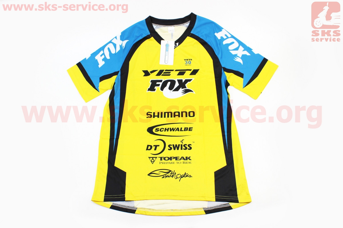 Футболка (Джерси) для мужчин М - (Polyester 100%), короткие рукава, свободный крой, желто-сине-черная, НЕ