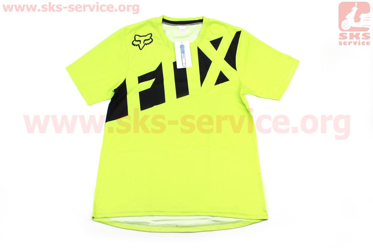 Футболка (Джерси) для мужчин М - (Polyester 100%), короткие рукава, свободный крой, салатово-черная, НЕ