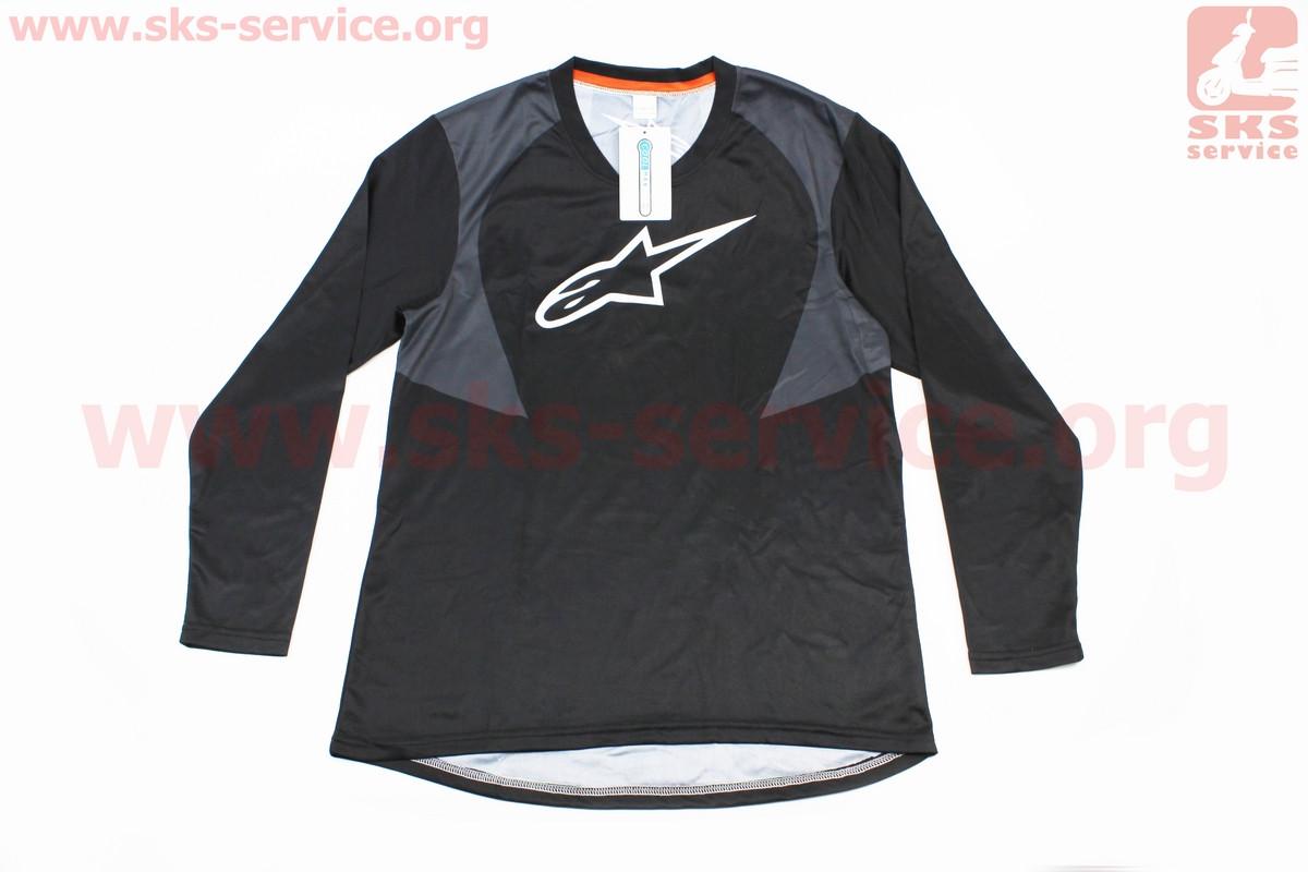 Футболка (Джерсі) для чоловіків М - (Polyester 100%), довгі рукави, вільний крій, чорно-сіра, НЕ оригінал