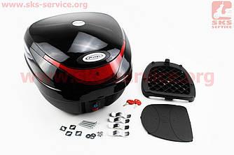Кофр средний (пластмассовый) 390*390*300мм, крепл. быстросъемное, черный HF-805 (330761)