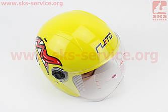 Шлем детский открытый Т68 - ЖЕЛТЫЙ с рисунком красно-бело-черным (360065)