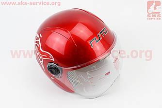 Шлем детский открытый Т68 - КРАСНЫЙ с рисунком бело-красным (360066)