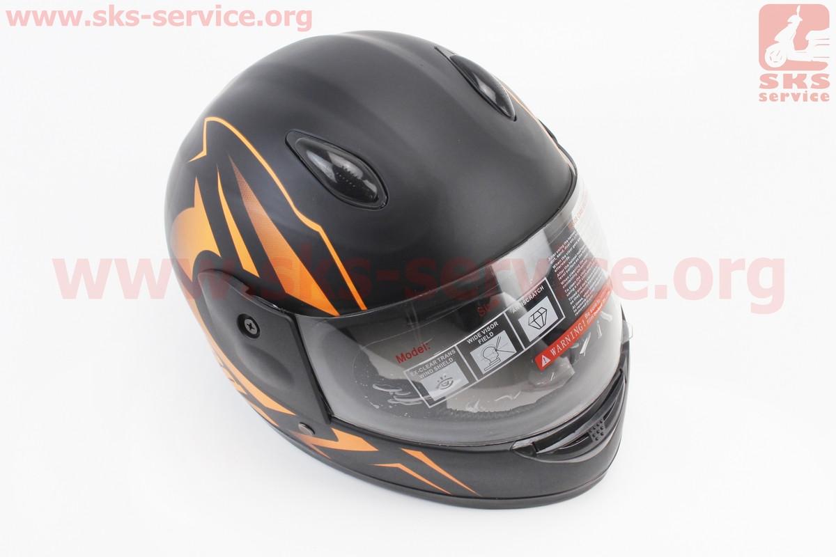 Шлем детский закрытый 801 XXS - ЧЕРНЫЙ матовый с рисунком оранжевым (возможны дефекты покраски) (360075)