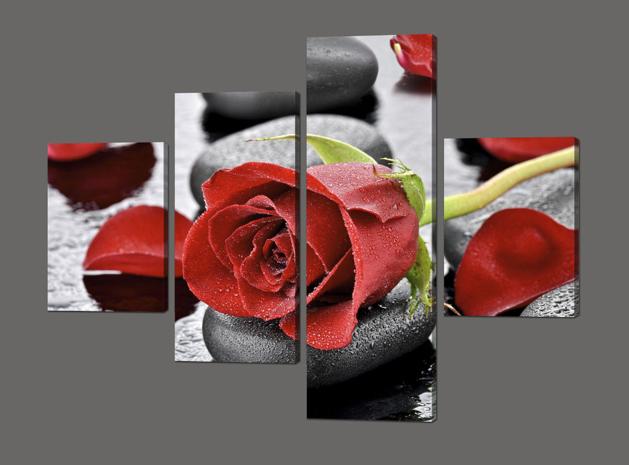 Модульная картина Красная роза на камнях 120*93,5 см Код: 621.4к.120