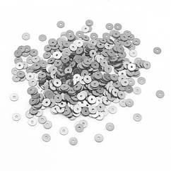 Паєтки, Круглі Дзеркальні, Колір: Сірий, Розмір: 4мм, близько 750шт/5г, (УТ100024156)