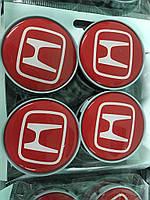 Honda Колпачки в титановые диски 55 мм V2 красные силикон