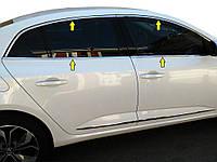 Полная окантовка стекол (Sedan, 12 шт, нерж.) Carmos - Турецкая сталь для Renault Megane IV 2016↗ гг.