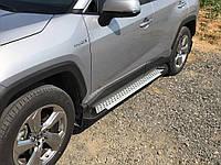 Toyota Rav 4 2019-2021 Боковые пороги Allmond Grey (2 шт., алюминий)