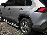 Toyota Rav 4 2019-2021 Боковые пороги Tayga V2 (2 шт., алюминий)