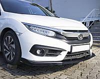 Honda Civic 2016-2021 Накладка на передний бампер ЛИП (черная)