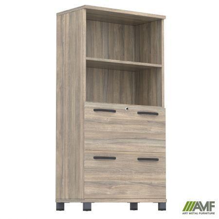 Шкаф с выдвижными ящиками SIG-13 (800х420х1600мм) Опора Черный графит/Вяз Либерти Дымчатый