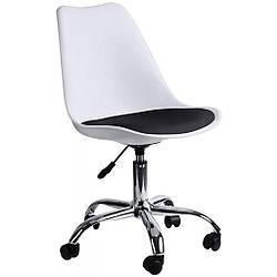 Кресло Bonro B- 487 на колесах белое с черным сиденьем