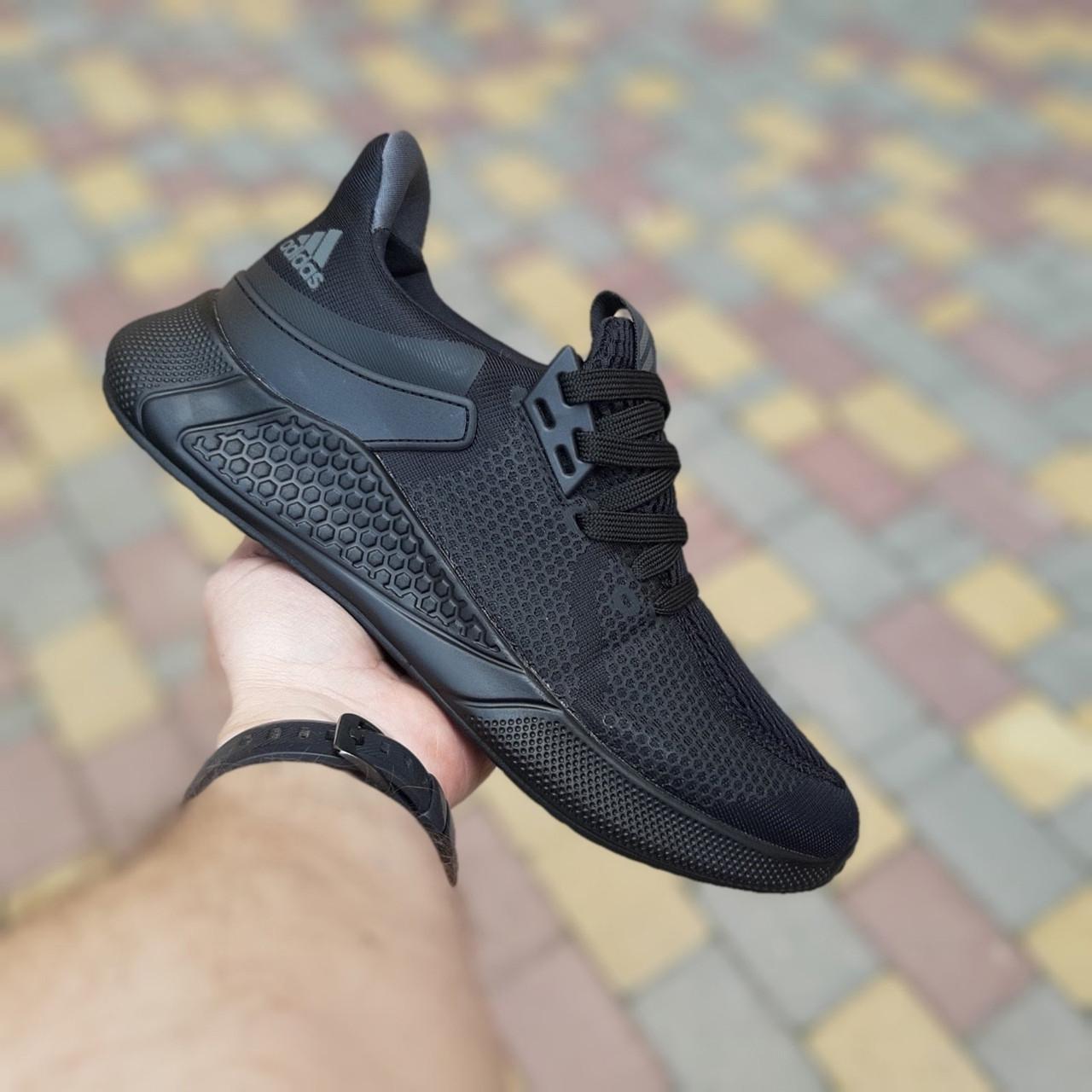 Adidas чоловічі літні чорні кросівки на шнурках. Літні чоловічі текстильні кроси