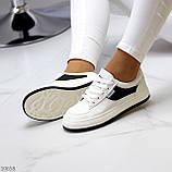 Люксові чорно - білі жіночі кросівки, кеди на шнурівці а асортименті, фото 2