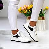Люксові чорно - білі жіночі кросівки, кеди на шнурівці а асортименті, фото 4