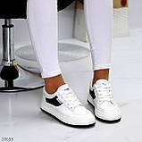 Люксові чорно - білі жіночі кросівки, кеди на шнурівці а асортименті, фото 6