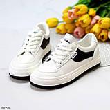 Люксові чорно - білі жіночі кросівки, кеди на шнурівці а асортименті, фото 7