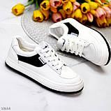 Люксові чорно - білі жіночі кросівки, кеди на шнурівці а асортименті, фото 8